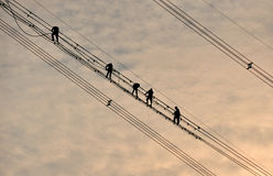 Power grid construction Royalty Free Stock Photography