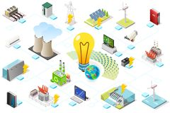 Power Grid Infographic of Energy. Power grid infographic, generating of power consumption. Energy element on line transmission. Station with high voltage socket stock illustration