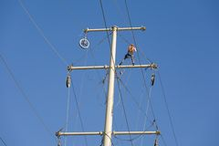 Power grid maintenance Royalty Free Stock Image