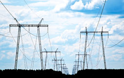 Power grid pylons Royalty Free Stock Image