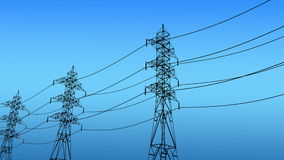 Power grid structures, pylon tower. Computer generated, Electricity, power grid structures, pylon tower stock footage