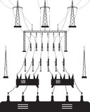 Power grid substation. Vector illustration Royalty Free Stock Photo