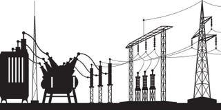 Power grid substation. Vector illustration Stock Photography