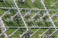 Power grid. Top view of a high voltage power grid royalty free stock photo