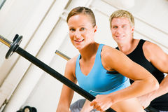 Power gymnastics with barbells Royalty Free Stock Images