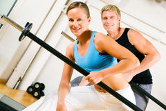 Power gymnastics with barbells Royalty Free Stock Photography