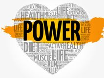 POWER heart word cloud Royalty Free Stock Photography
