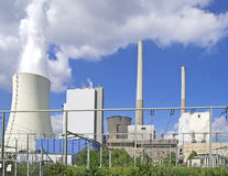 Power House. A working fossil-fuel power station in Grosskrotzenburg, Hesse, Germany Royalty Free Stock Photography