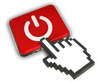 Power Icon. 3D illustration Icon- Hand Cursor Click Royalty Free Stock Photography