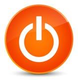 Power icon elegant orange round button Stock Image
