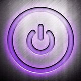 Power icon on metal background Stock Photo