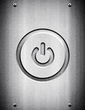 Power icon on metal background Royalty Free Stock Images