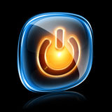 Power icon neon. Power icon neon, isolated on black background Royalty Free Stock Photos