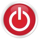 Power icon premium red round button. Power icon isolated on premium red round button abstract illustration Royalty Free Stock Photo