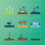 Power icons set. Energy generation. Icons set of a power generation station vector illustration