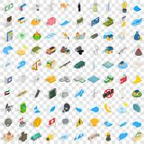 100 power icons set, isometric 3d style Royalty Free Stock Photography
