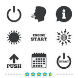 Power icons. Start engine symbol. Push arrow. Power icons. Start engine symbol. Push or Press arrow sign. Information, go to web and calendar icons. Sun and Royalty Free Stock Images