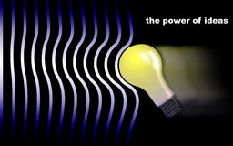 The power of ideas. A light bulb creating a wave Stock Images