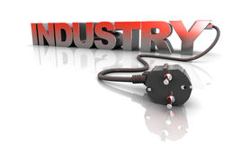 Power industry. 3d illustration of industry sign with power cord, over white background Stock Image