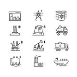 Power industry generations vector line icons Royalty Free Stock Photo