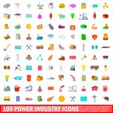 100 power industry icons set, cartoon style. 100 power industry icons set in cartoon style for any design illustration vector illustration