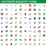 100 power industry icons set, cartoon style. 100 power industry icons set in cartoon style for any design illustration stock illustration