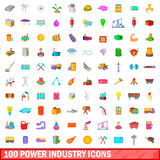 100 power industry icons set, cartoon style. 100 power industry icons set in cartoon style for any design vector illustration Royalty Free Stock Photo