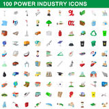 100 power industry icons set, cartoon style Stock Images