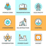 Power industry line icons set Stock Photos