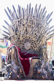 Power, Iron throne made with swords, fantasy scene or stage. Rec. Reation of a medieval seat Royalty Free Stock Photos