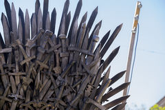 Power, Iron throne made with swords, fantasy scene or stage. Rec Royalty Free Stock Photography