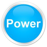 Power premium cyan blue round button. Power isolated on premium cyan blue round button abstract illustration Stock Photos