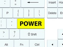 Power yellow keyboard button. Power isolated on yellow keyboard button abstract illustration royalty free illustration