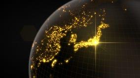 Power of japan, energy beam on tokyo. dark globe with illuminated cities and human density areas. 3d illustration. Power of japan, energy beam on tokyo. dark vector illustration