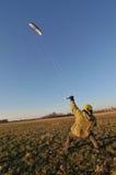 Power kiting. Land field kiting kite free power Royalty Free Stock Images