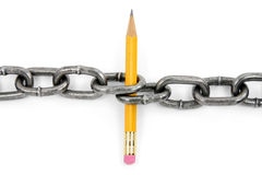Power of knowedge. Chain and pencil with white background, power of knowedge Royalty Free Stock Photo