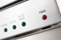 Power LED. Focused Power LED and several others defocused lights on an electronic device royalty free stock photography
