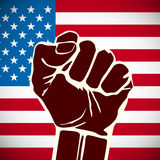 Power of Liberty, concept with USA flag background. Stock Photo