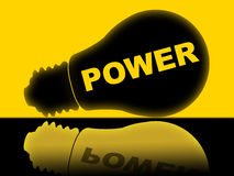 Power Lightbulb Represents Energy Energize And Powered Royalty Free Stock Photography