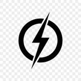 Power lightning logo icon. Vector black thunder bolt symbol. Isolated on transparent background Royalty Free Stock Photo