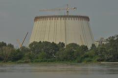Power lights. Chimneys launching smoke. Cranes, extending the electron. Heat generation. Royalty Free Stock Photo
