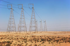 Power line. In the desert Royalty Free Stock Photography