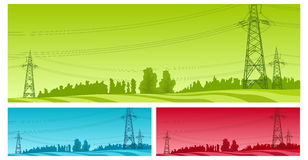 Power line. High-voltage line, electric column on green field, vector illustration Stock Image