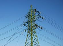 Power Line. Electric power line over deep blue sky background royalty free stock image