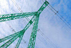 Power line. Field, blue sky and green power line Royalty Free Stock Photo