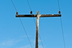 Power line. Old power line with three cables Stock Photography