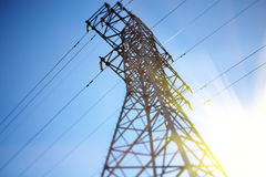 Power Line. Tower on the sky background,made with tilt-shift lens Royalty Free Stock Photos