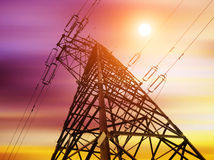 Power line. High-voltage tower silhouette dusk Royalty Free Stock Image