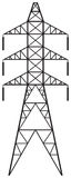 Power line. Silhouette of Power line and electric pylon, electric transmission line Royalty Free Stock Images