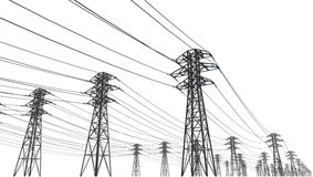 Power line. On a white background Stock Photography